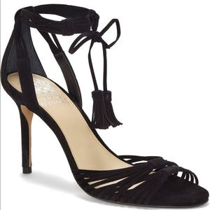 Black suede Vince Camuto strappy sandals. Size 9.5